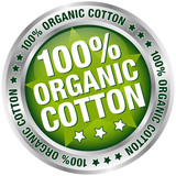 "Button Banner ""100% Organic Cotton"" green/silver"