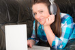 .woman with earphones