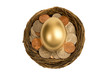 Overhead Shot Of Golden Egg Laying Down In Nest Of Coins