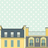 Vector template with Paris roofs on polka dot background