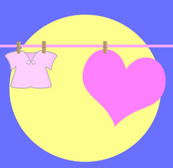 heart drying on a wire , with baby clothe,on a moonlight