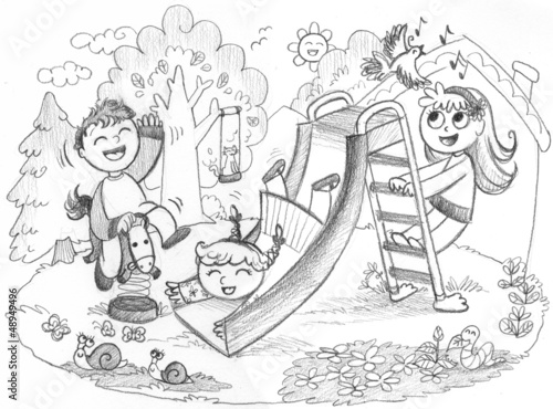 Playground: 3 happy kids playing. Hand drawn illustration.