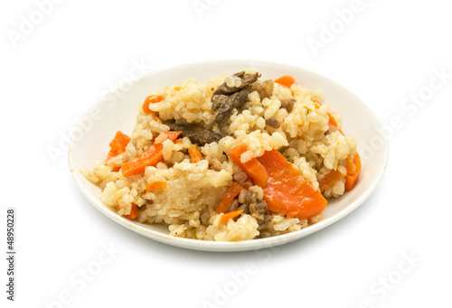 plate of pilaf on a white background