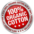 "Button Banner ""100% Organic Cotton"" Red/Silver"
