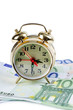 Alarm clock  for euro banknotes isolated