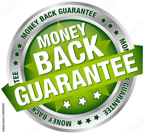 """Button Banner """"Money Back Guarantee"""" Green/Silver"""