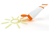 Fototapety tube of sunscreen with a painted sun cream