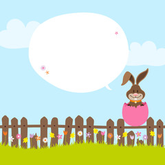 Bunny On Fence In Pink Eggshell Speech Bubble
