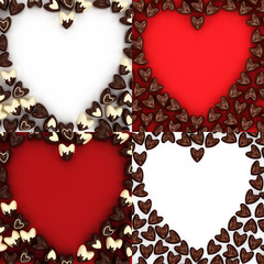 Set of  chocolate candy hearts