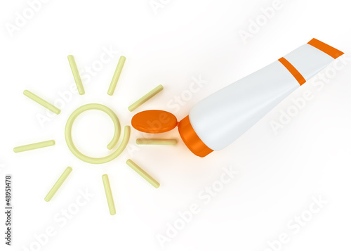 tube of sunscreen with a painted sun cream