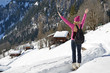 Traveler enjoying Alpine panorama. Braunwald, Switzerland