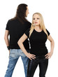 Couple with blank black shirts