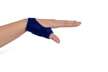 Finger in a splint.