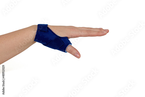 Finger in a splint.