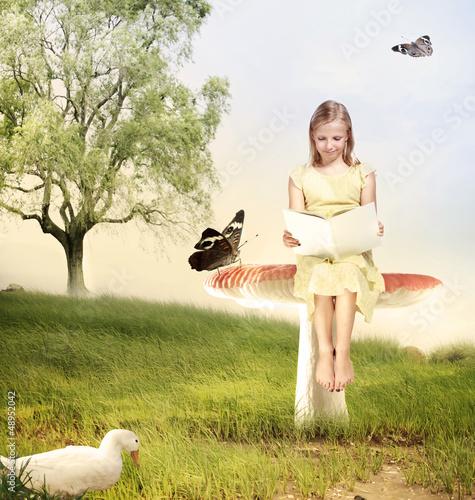 Girl Reading a Book on Mushroom