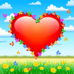 heart with butterflies on nature background
