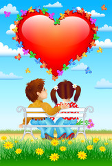 boy and girl and St Valentin's Day