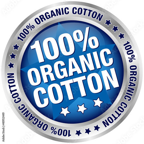 "Button Banner ""100% Organic Cotton"" Blue/Silver"