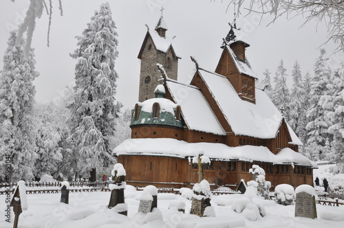 Wooden church Wang in Karpacz in winter - 48953041