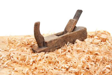 jack plane, wood chips and sawdust