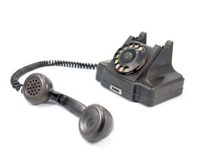 Black telephone isolated on white background