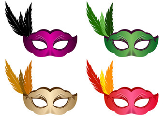 4 masques plume - Carnaval