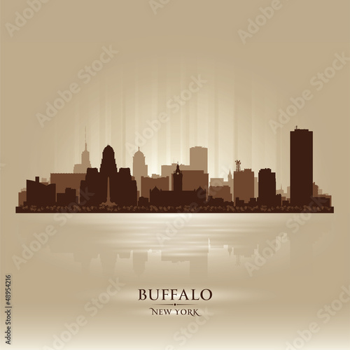 Buffalo, New York skyline city silhouette