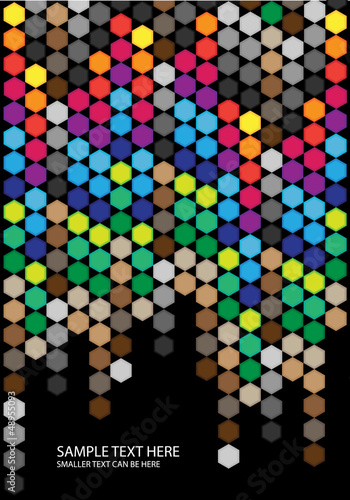 abstract vector background with color hexagons on black