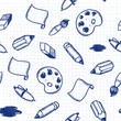 Doodle tools: pen, pencil, brush, eraser seamless pattern