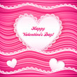 Vector pink wavy Valentine's Day background with lacy hearts