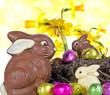 Frohes Ostern: Osternest mit Schokohasen