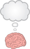 Brain with blank floating thought bubble