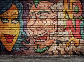 murales su muro di mattoni