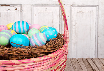 close up of Easter basket and Easter eggs