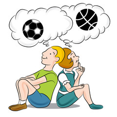 Children Thinking About Sports