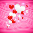 Vector pink wavy Valentine's Day background with hearts