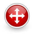 move arrow red circle web icon on white background