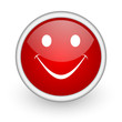 smile red circle web icon on white background