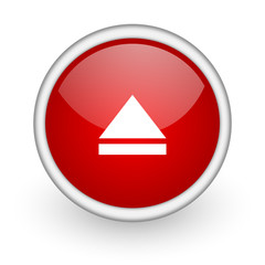 eject red circle web icon on white background