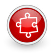puzzle red circle web icon on white background