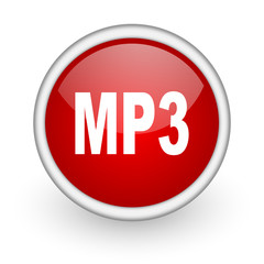 mp3 red circle web icon on white background