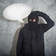 Confused burglar with speech balloon