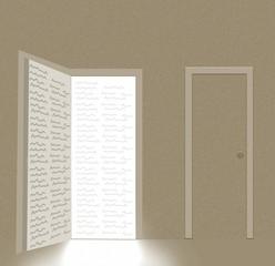 book in shape of open door