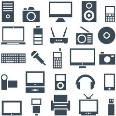 Icon set gadgets, computer equipment and electronics.