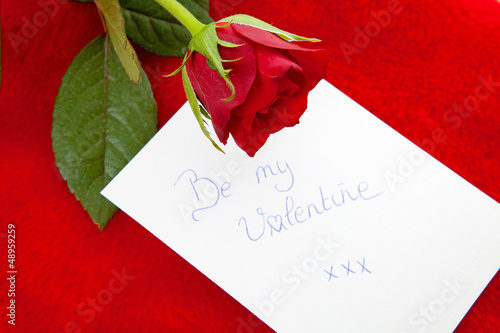 Romantic note: Be my valentine red rose