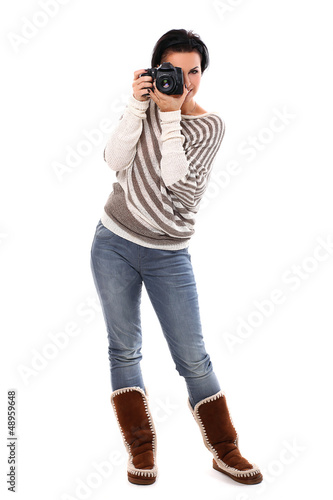 Beautiful woman with camera