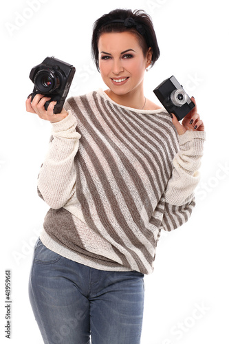 Beautiful woman with cameras