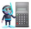 Scuba guy by a calculator