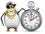 Penguin rapper with stopwatch