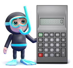 Scuba guy by a calculator